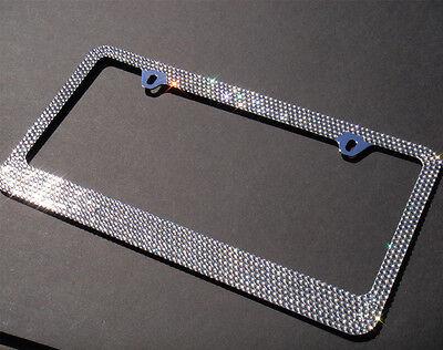 7 Row Grey Diamond Rhinestone METAL License Plate Frame+Free Bling Caps Metal Plate Frame