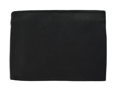 Leather Bi-fold Black Wallet Bills Credit Card Holder Pockets Mens Womens Wallet