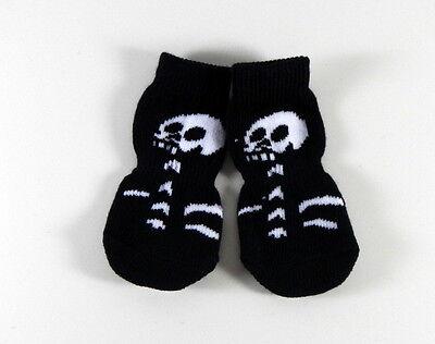 ABS Socken für Hunde - 4 Antirutsch Hundesocken Pfotenschutz Größe S-XL Skelett