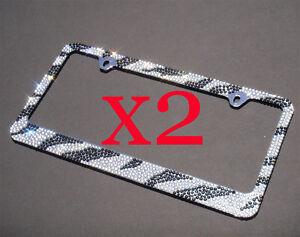 Popular 7 Rows ZEBRA Bling Diamond Crystal License Plate Frame X 2 frames