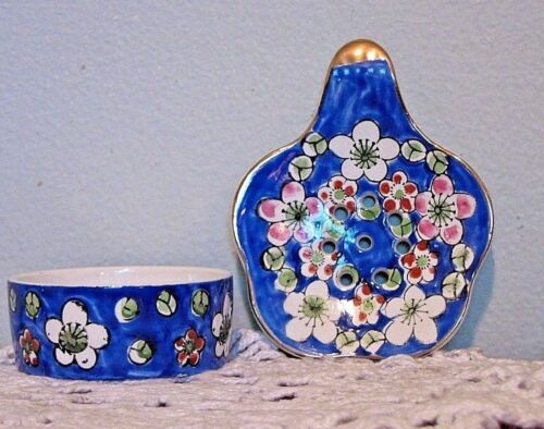 Vintage Asian Porcelain Tea Strainer/ With Bowl  Hand Painted Made in Japan