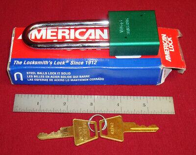 AMERICAN PADLOCK SERIES 1205 LONG SHACKLE NEW GREEN 2 KEYS LOTO SAFETY SECURITY
