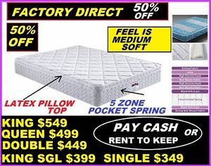 NEW QUEEN MATTRESS $499. KING, DOUBLE, SINGLE. RENT FROM $5.20PW Ipswich Region Preview