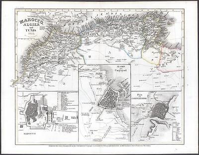 c1845 Antique Map  PLAN MOROCCO North Africa ALGIER CONSTANTINE TUNIS (025)
