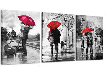 Canvas Wall Art Black White and Red Umbrella Loves Framed Picture for Wall