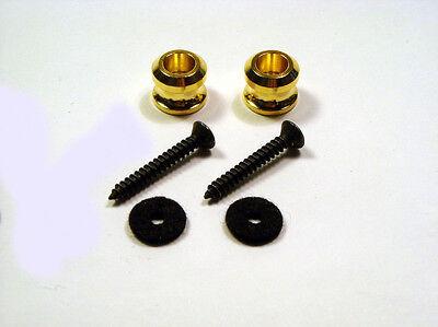 Genuine Schaller Guitar Strap Buttons for Strap Locks - Gold w/Felts on Rummage