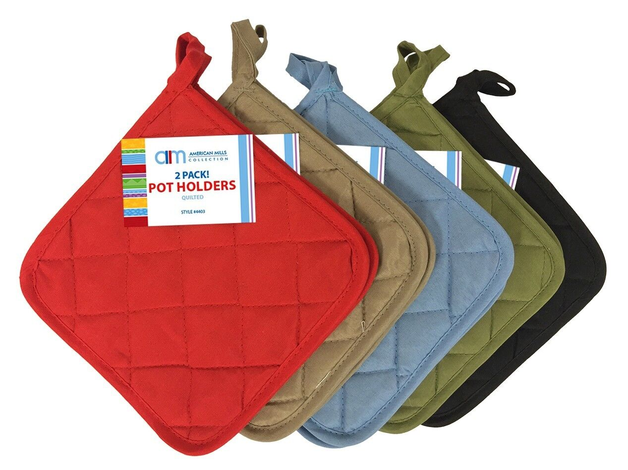 2 Pack Quilted Pot Holders 5 Colors  Brand New
