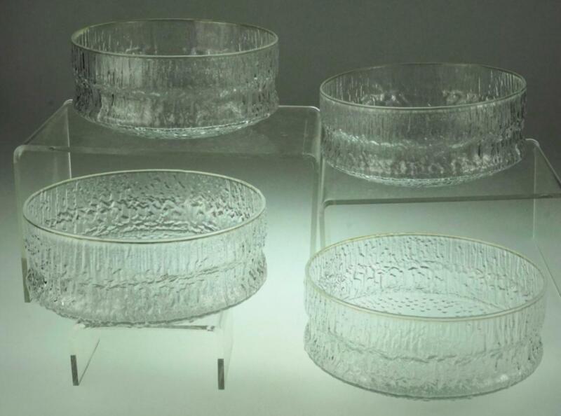 Lot of 4 Iittala Paadar Crystal Dessert Bowls 1970 Tapio Designed Finland ZE96