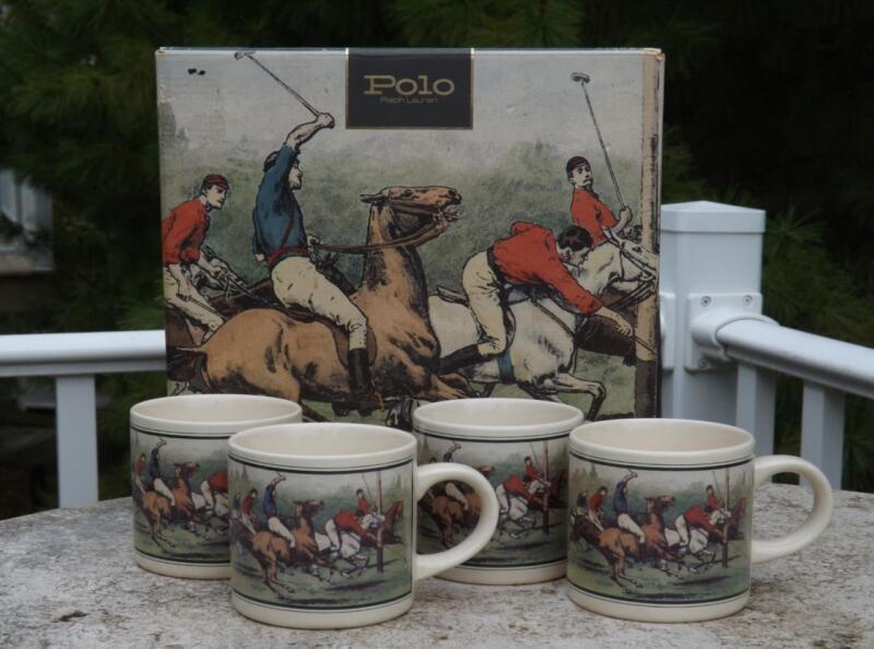 NIB Ralph Lauren Polo Set 4 Polo Thoroughbred Horse Mugs Equestrian 12 Oz.