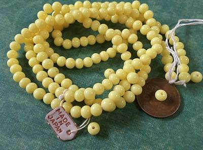 Vintage 5mm Near Round Yellow Glass Beads Japan 50