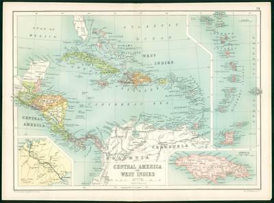 1912 Original Colour Antique Map - CENTRAL AMERICA WEST INDIES JAMAICA  (75)