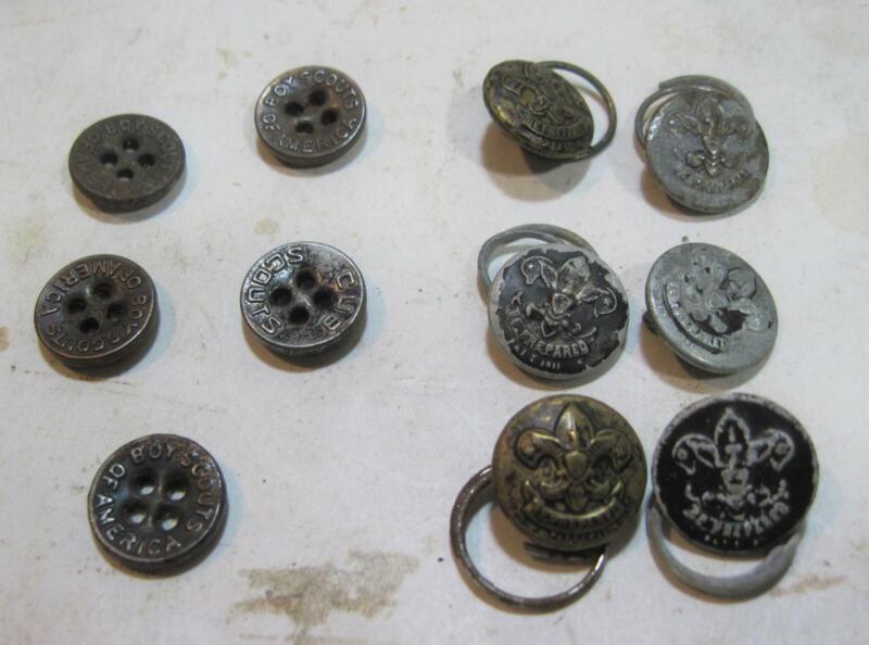 "Lot 11 Vintage Scout Buttons 6 Boy Scouts ""Be Prepared"" & 5 BSA Scout Buttons"