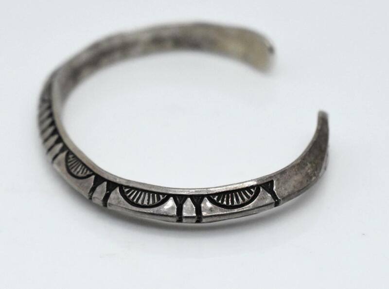 """RS Navajo ROGER SKEET Sterling Silver Hand Stamped Sandcast Cuff 5.25"""" Bracelet"""