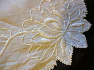 Antique Crewel Embroidery on Linen Top of Bed Pillow Covering w Crochet Trim