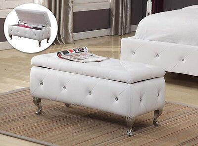 Kings Brand Tufted Design White Upholstered Storage Bench Ottoman  ~New~