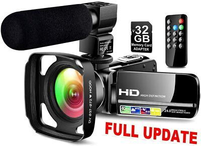 Ultra HD Video Camera Camcorder with Powerful Microphone 1080P Vlogging Camera R
