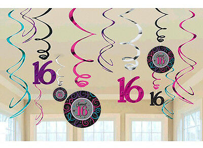 Celebrate Sweet Sixteen 16th Birthday Party Value Pack Hanging Swirl Decorations