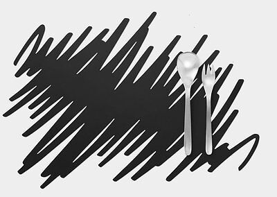 MoMA Scribble Placemats Design Scratch Silicone Black Home rubber placemat table