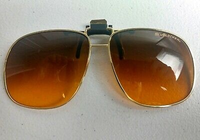 BluBlocker Clip on Sunglasses Gold Frame Amber Lense VERY (Blublockers Sunglasses)
