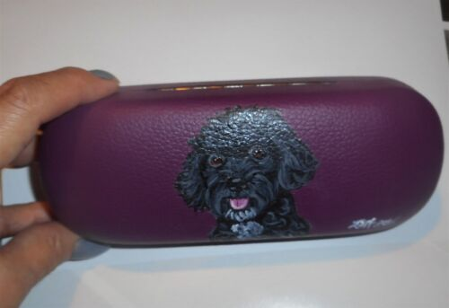 Portuguese Water Dog Hand Painted Hard Eyeglass Case