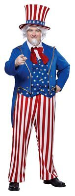 UNCLE SAM Costume Halloween 4th July Independence Day Patriotic Men Plus Size   - Uncle Sam Halloween Costumes