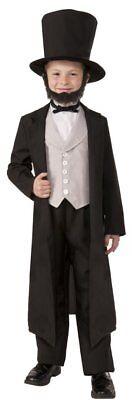 Abraham Lincoln Costume Child Size 4 Pc Blk Coat Vest/Shirt Front Pants & Hat Lg