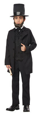 Abraham Lincoln Costume Child's 3 Piece Black Coat/Vest Tie & Hat Historical Set - Abraham Lincoln Coat