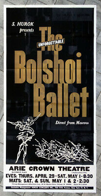 1960's Vintage RUSSIAN BOLSHOI BALLET Poster from ARIE CROWN THEATRE in CHICAGO
