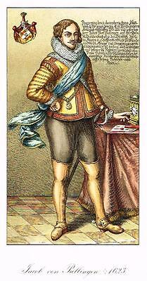 "Chromolithograph MIDDLE AGES - ""JACOB VON PALLINGER"" by Hefner-Alteneck in 1840"