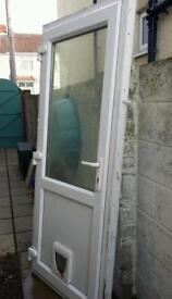 Double glazed back door with cat flap