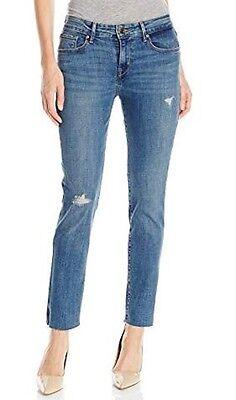Womens New Levi's Mid Rise Slim Skinny Medium Wash Distressed Jeans Size 33 x 32