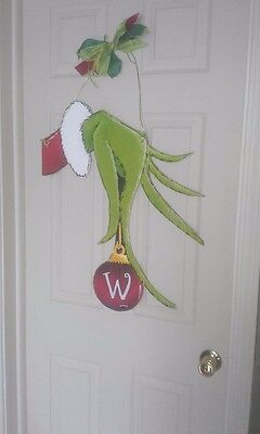 Hand Painted Grinch Door Hanger - Grinch Door Decorations