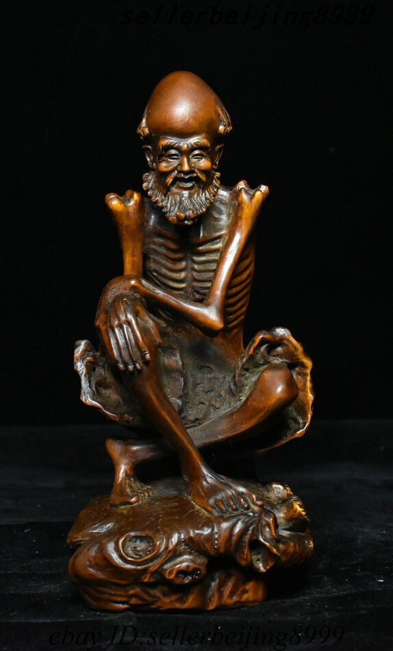"6/"" Old Chinese Boxwood Wood Carved Arhat Damo Bodhidharma Dharma Buddha Statue"