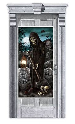 CEMETERY DOOR COVER Halloween Party Decorations Door Graveyard Grim Reaper - Cemetery Halloween Party