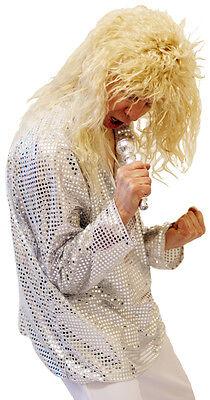 60's/70's/Glam Rocker Silver Glitter DISCO SHIRT Fancy Dress sml-XXXXL