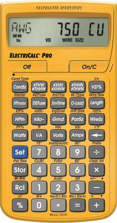 Calculated Indrstries 5070 Model ElectriCalc Pro Electrical Code Calculator