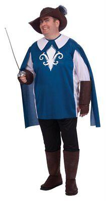 Musketeer Costume Men's 5 Pc Bl& Blk Sleeved Tabard Pants Gauntlets & Hat Plus  (Musketeer Costume Men)