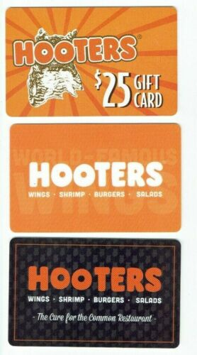 Hooters Gift Card LOT of 3 Diff - Restaurant - Wings, Drinks, Food Owl -No Value