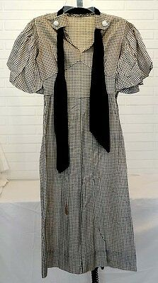 ANTIQUE Vintage 1930's PARIS PUFFY SLEEVE Black & White SILK GINGHAM DRESS