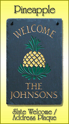 Pineapple 100% Natural Slate Personalized Welcome OR Address (Personalized Slate Wall Plaque)