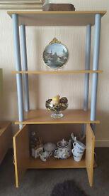 3 tier shelf and cabinet - oak effect