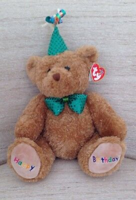 TY Beanie Buddy - HAPPY BIRTHDAY the Bear (Green Hat & Tie) (13 inch) - NWT   T6