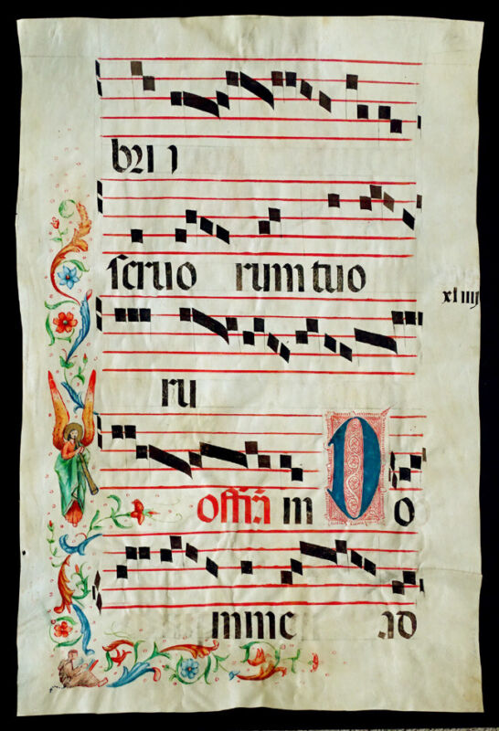 HUGE! 14th-15thC ANTIQUE Vellum Painting ILLUMINATED MANUSCRIPT Calligraphy