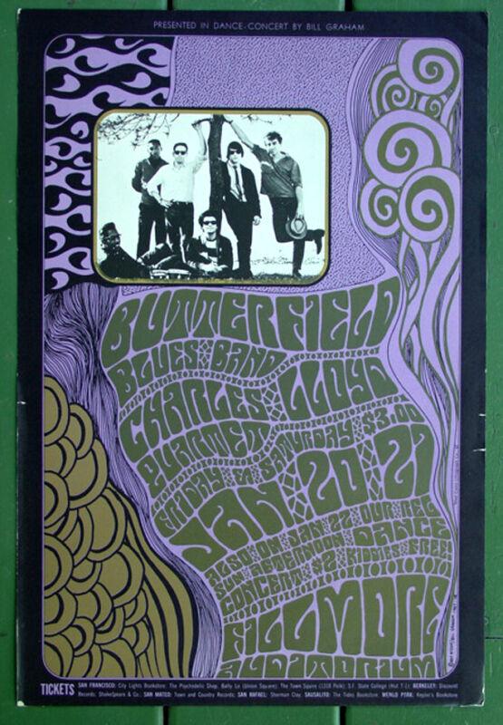 BG46 Butterfield Blues Band•Charles Lloyd•1967 Original Fillmore Concert Poster