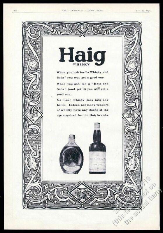 1928 Haig & Haig Scotch Whisky Dimple Scots Pinch bottle photo vintage print ad