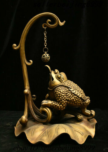 "17"" Collect China Dynasty Bronze Lotus Golden Toad Spittor Incense Burner Censer"