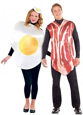 ADULT BREAKFAST BUDDIES COUPLES COSTUMES Bacon and Egg Fancy Dress Outfit 44276 (Bacon Outfit)