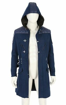 DEVIL MAY CRY 5 NERO BLUE HOODIE WOOL & LEATHER TRENCH COAT - AVAIL IN ALL - Blue Devils Kostüm