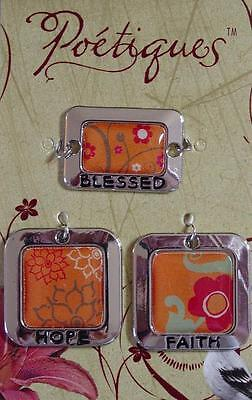 Charm Sets Affirmations Word Picture Altered Art Enamel Silver Metal Bead Drops (Word Beads Set)