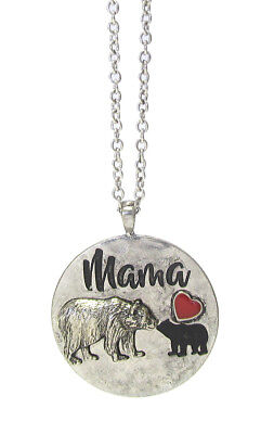 MAMA BEAR Necklace Round Circle Rustic Silver Color Pendant Long 30